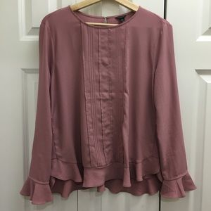 Ann Taylor Women's pink long sleeve blouse, size M